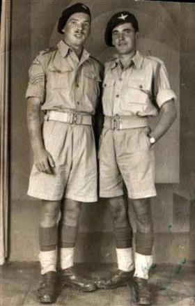 John Richards (right), probably North Africa or Italy, 1943.