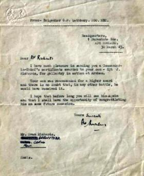 Letter from Brig G W Lathbury to Sgt J Richards' father, regarding a Commander in Chief's Certificate of Gallantry, March 1945.
