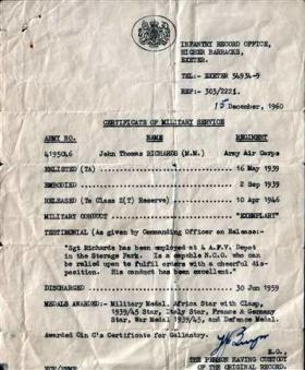 Sgt J Richards' Certificate of Military Service, December 1960.