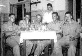 Members of B Coy, 2 PARA, relaxing, Jordan, 1958.