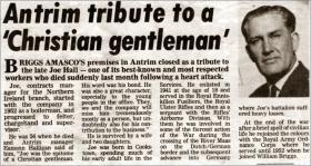 Newspaper report on the death of Joseph Hall, 1980.