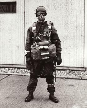 A JSFTT member equipped for freefall, 1966