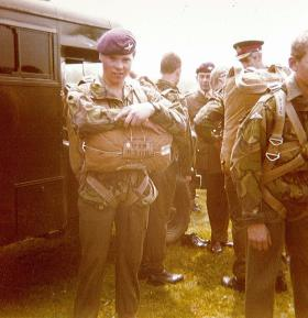 Pte Greg Allen ready to jump after Passing Out Parade of 442 Platoon, 1978.