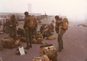 Members of 10 PARA preparing to emplane a C130 for a jump on Hankley Common, RAF Northolt 1978.
