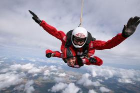 Jumping with The Red Devils to raise funds for the Afghan Trust, October 2012.