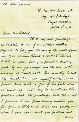 Handwritten copies of correspondence sent to Pte Riddell's mother regarding his death, 1945.