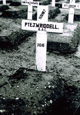 Grave of Pte J W Riddell, Reichswald Forest War Cemetery, Germany.