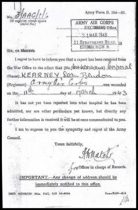 Notification of injury form Corporal Shane Kearney 1943