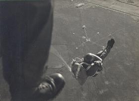 Ken Sellars jumping onto DZ in Malaya 1962