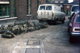 Kit outside Tulse Hill Drill Hall for parachute jump, 1970s.