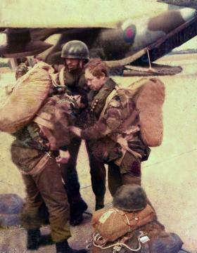 Members of 4 PARA kitting up for a jump 1970s