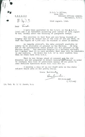 Letter from Knocker to Jacob about training of parachute troops.