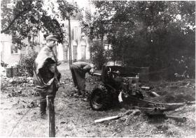 A Destroyed 6 Pounder is Inspected by German Troops, Arnhem, 1944