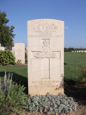 Headstone of L/Bdr GWR Wright, Bari War Cemetery, November 1943.