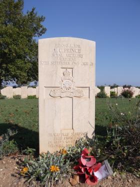 Headstone of L/Bdr LC Prince, Bari War Cemetery, November 2011.