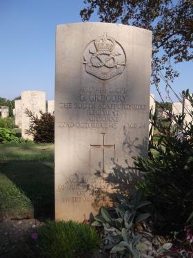 Headstone of L/Cpl G Gregory, Bari War Cemetery, November 2011.