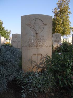 Headstone of L/Cpl Leonard Messer, Bari War Cemetery, November 2011.