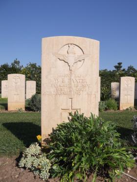 Headstone for L/Cpl WE Baxter, Bari War Cemetery, November 2011.