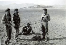 RSM Cooper, BSM Parker and TSM Lambert on Exercise Snowdrop, Cyprus, April 1953.