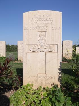 Headstone of L/Sgt J Corcoran, Bari War Cemetery, November 2011.