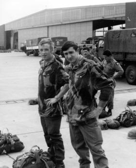 Members of 1 Para Provost Pln RMP (V) waiting to jump at the German Parachute Training School, 1976.