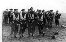 Members of A Coy 1 Para prepared for balloon jumping Hildersheim Germany 1949
