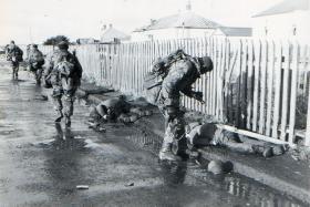Members of D Coy 2 PARA in Port Stanley, 1982.