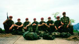 12 Platoon, D Coy Group, 2 PARA, on the day before flying home, Sierra Leone, May 2000.