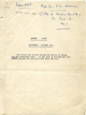 Diary of Arnhem September to October 1944 by General William Lathbury