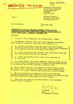 Letter regarding the presentation of Lathbury's medals to the museum, 1983