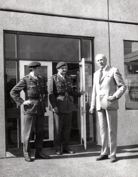 Sir Gerald William Lathbury outside the Parachute Regimental Museum