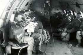 C Troop, 97 (Lawson's Company) Para Bty, 33rd Para Field Regiment RA, onboard a Hastings, RAF Kasfareet, Egypt, c1953.