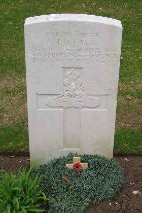 The headstone of Gunner Eric Lay, Reichswald Forest War Cemetery Germany, 2010.