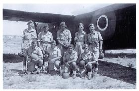 Group photo of men from 210 Airlanding Battery beside a Horsa during Exercise Purdy, Palestine, 1946