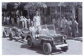 33rd Airborne Lt Reg RA jeep during King's Birthday Parade, Kingsway, Haifa, Palestine, 1947