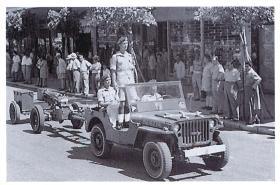 33rd Airborne Lt Reg RA jeep during King's Birthday Parade, Kingsway, Haifa, Palestine, 1947