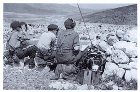 Live firing practice of 75mm Howitzer, Acre, Palestine, Spring 1947.