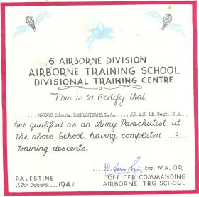 Certificate for qualifying as parachutist, Palestine1947.