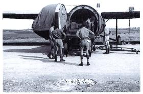 Men from 210 Airlanding Battery RA loading a jeep into a Horsa during Exercise Purdy, RAF Aqir, Palestine, Autumn 1946