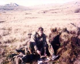 L/Cpl Volf with 2 PARA Machine Guns before Wireless Ridge, Falkland Islands, 1982.