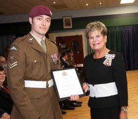 LCpl Phillip Doyle, C Coy 4 PARA and H.M. Lord-Lieutenant of County Durham Mrs Sue Snowdon 24 February 2015.
