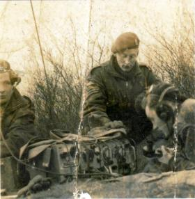 L/Cpl Mundy field training on a No. 22 Wireless Set, early 1944.