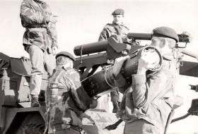 Members of Para Sqn RAC with a Malkala Missile, 1960s.