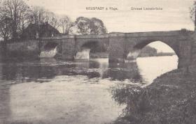 The Leine-Brücke (Lion Bridge) Neustadt, pre war postcard, undated