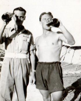Jim Jolley and Percy Lemon, 211 Airlanding Light Battery RA, Palestine, 1946.