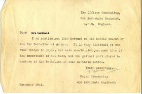 Letter sent by Harry Marshall's OC in 2nd Para Bn following the Battle of Arnhem, 1944.
