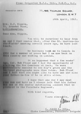 Letter from Brig Hill ref visit to the Reichswald Forest cemetery, 1963.