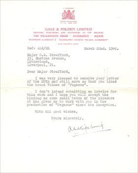 Letter from Gale & Polden to Major Charles Strafford 22 March 1949