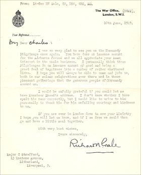 Letter from Lt Gen Gale to Major Charles Strafford 10 June 1949