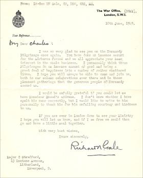 Letter from Lt Gen Gale to Major Charles Strafford 10 June 1949